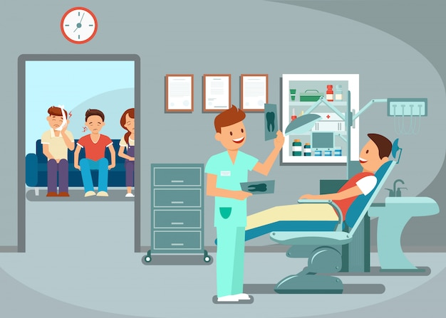 Esame dei denti Vettore Premium
