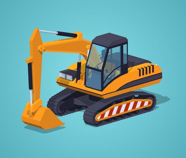 Escavatore giallo macchinari speciali Vettore Premium