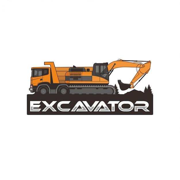 Escavatore isolato Vettore Premium