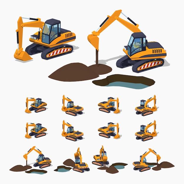 Escavatore isometrico lowpoly giallo 3d. macchinari speciali Vettore Premium