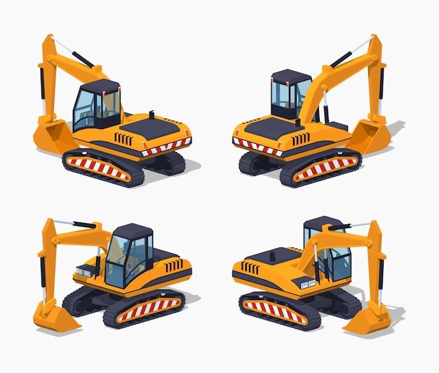 Escavatore isometrico lowpoly giallo 3d Vettore Premium