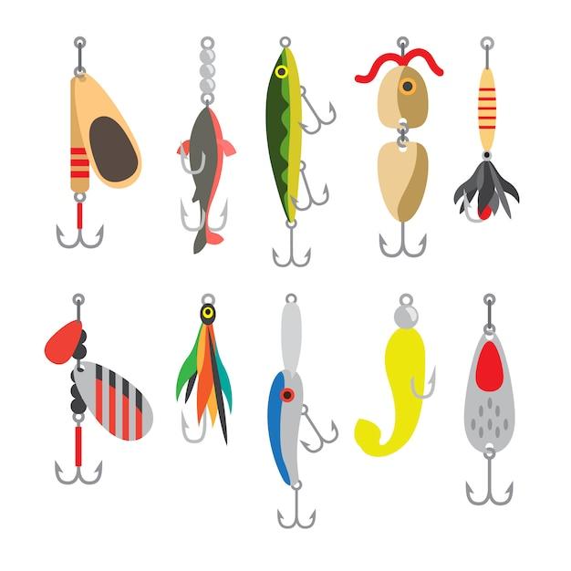 Esche da pesca Vettore Premium
