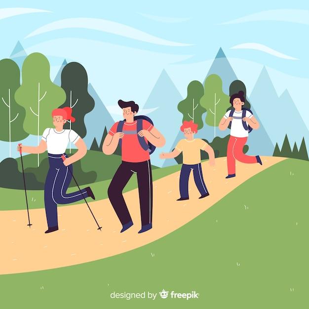 Escursioni in famiglia disegnati a mano Vettore gratuito