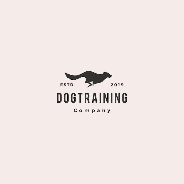 Esecuzione di logo del cane salto Vettore Premium
