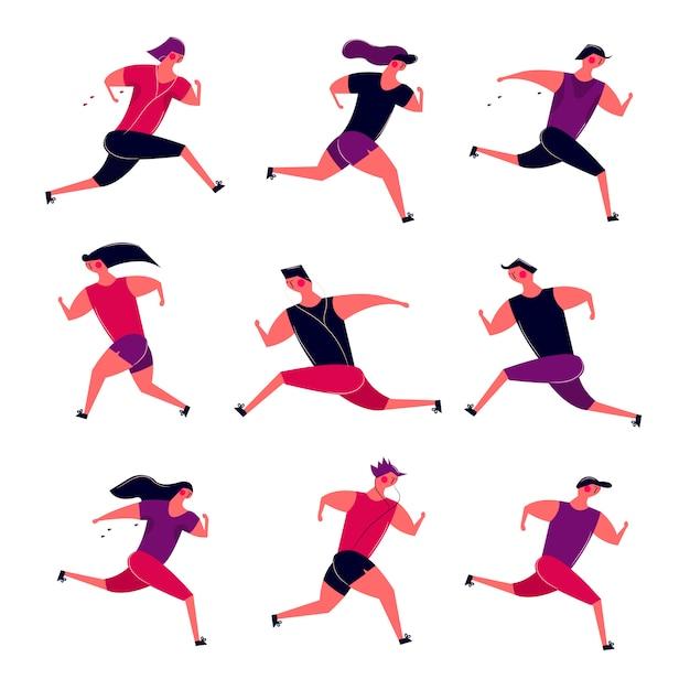 Esecuzione di persone in movimento gruppo. donne degli uomini da jogging che si preparano all'aperto. i corridori si preparano per la salute della maratona della competizione sportiva che corre in mattinata Vettore gratuito