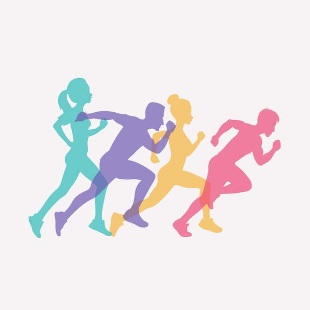 Esecuzione di persone insieme di sagome, sport e attività di fondo Vettore Premium