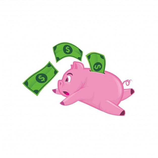 Esecuzione di piggy bank con denaro Vettore Premium