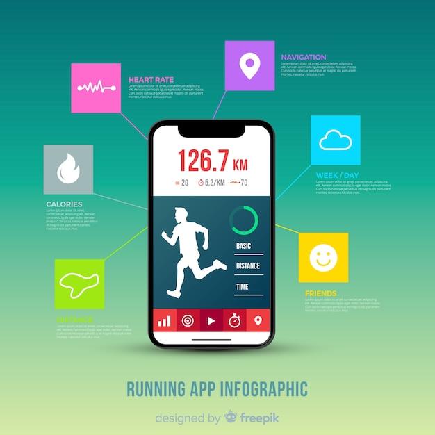 Esecuzione di stile piatto infografica app mobile Vettore gratuito