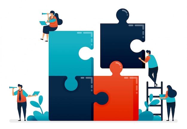 Esercitati nella collaborazione e nella risoluzione dei problemi in gruppo completando i giochi puzzle. Vettore Premium