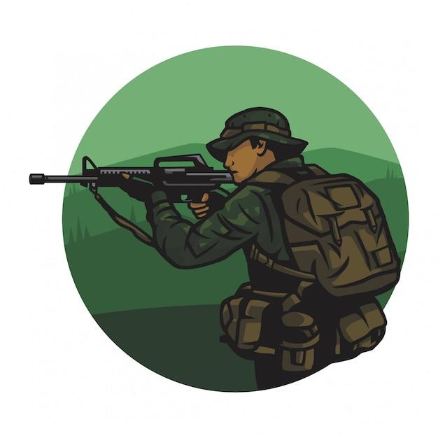 Esercito in un vettore di giungla Vettore Premium