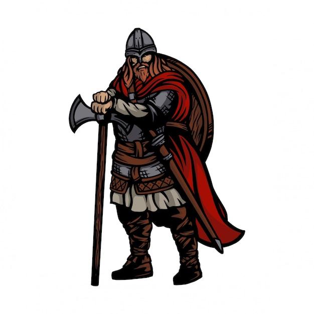 Esercito vichingo che indossa asce e scudo Vettore Premium