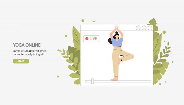 Esercizi, sport, fitness domestico, trasmissione di yoga online in diretta. Vettore Premium