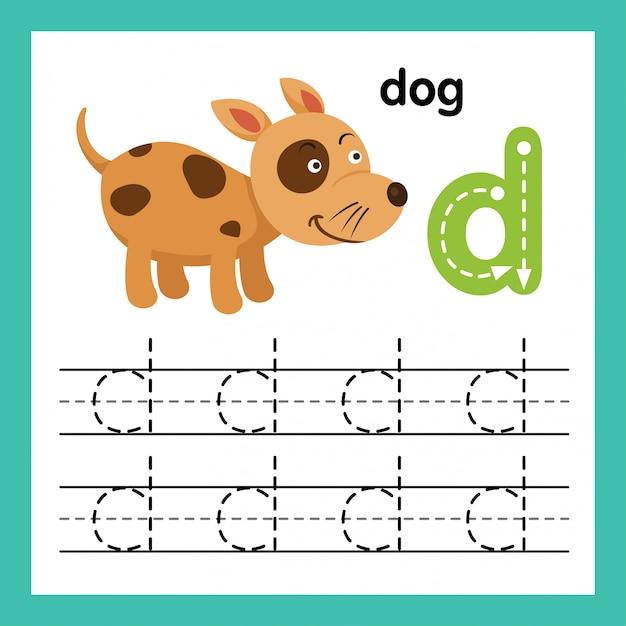 Esercizio di alfabeto d con l'illustrazione di vocabolario del fumetto, vettore Vettore Premium