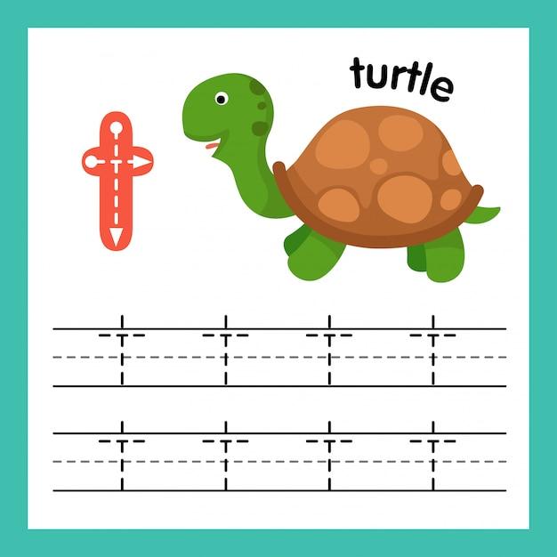 Esercizio di alfabeto t con l'illustrazione di vocabolario del fumetto Vettore Premium