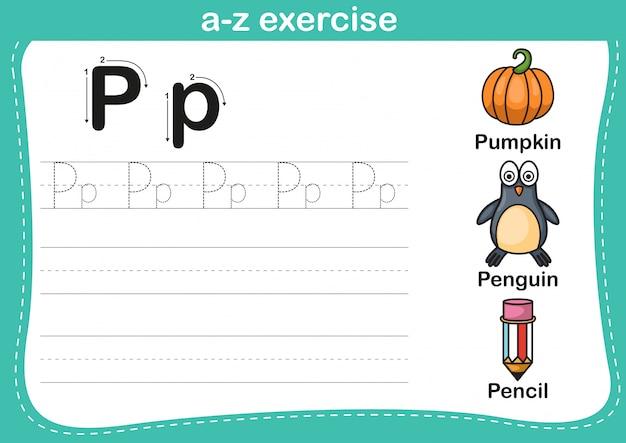 Esercizio di az di alfabeto con l'illustrazione di vocabolario del fumetto Vettore Premium