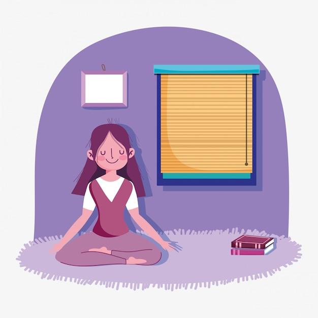 Esercizio di sport di attività di yoga di posa di meditazione della ragazza a casa Vettore Premium