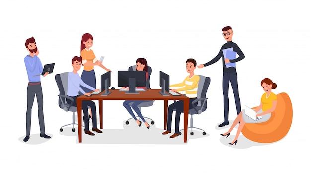 Esercizio di team building per ufficio Vettore Premium