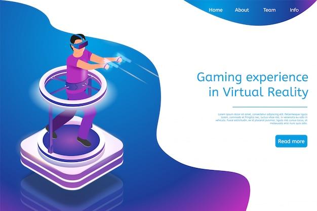 Esperienza di gioco isometrica nella realtà virtuale Vettore Premium