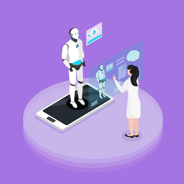 Esperienza di interazione robotica umana con la composizione di sfondo isometrico piattaforma programmabile con umanoide sullo schermo dello smartphone Vettore gratuito