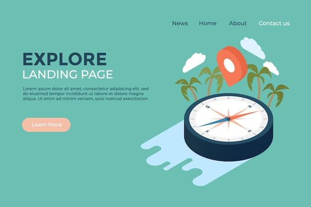 Esplora il modello di progettazione web della pagina di destinazione del mondo Vettore Premium
