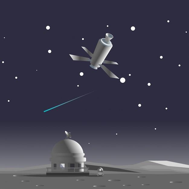 Esplorazione lunare Vettore Premium