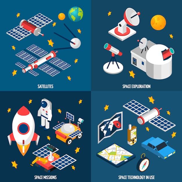 Esplorazione spaziale isometrica Vettore gratuito