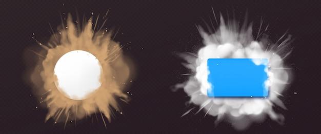 Esplosione di polvere e polvere con banner Vettore gratuito