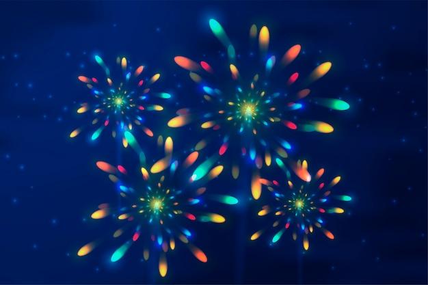 Esplosione realistica. fuochi d'artificio. flash luminoso. Vettore Premium