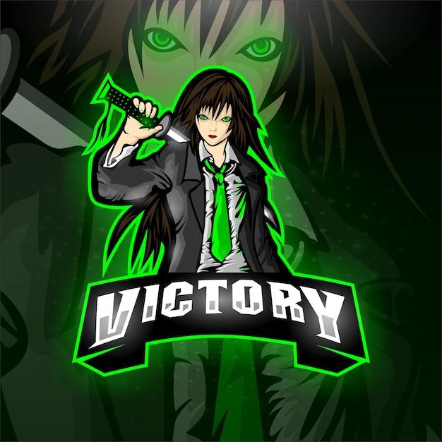 Esport samurai logo vittoria team Vettore Premium