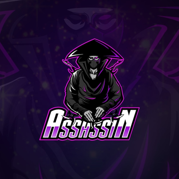 Esports logo assassin team Vettore Premium