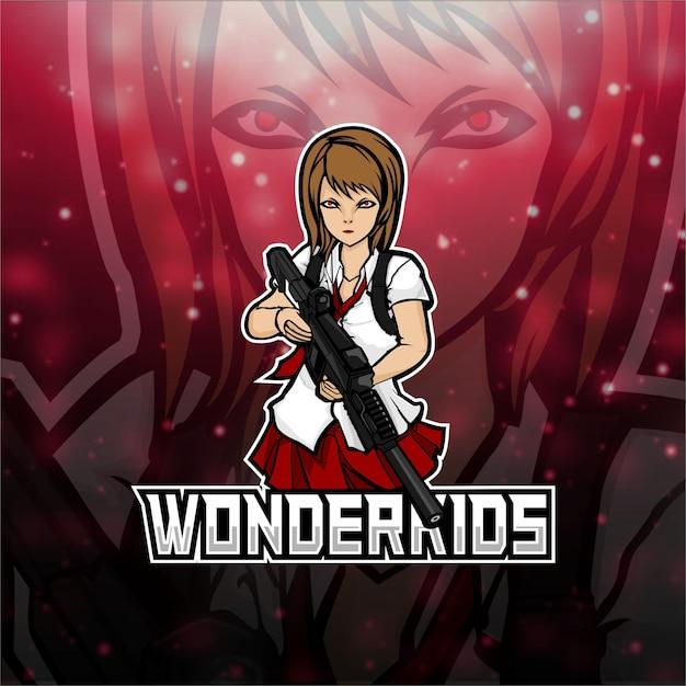 Esports logo wonderkids team Vettore Premium