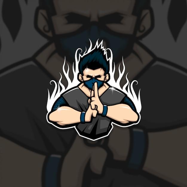 Esports mascot logo team ninja squad Vettore Premium