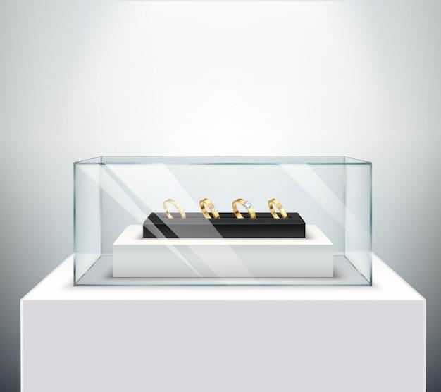 Espositori per fedi nuziali in oro esclusivo con diamante in lussuoso vetro espositore Vettore gratuito