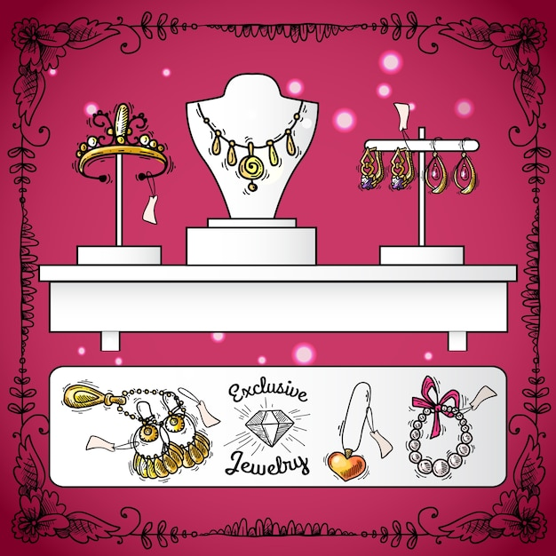 Esposizione del negozio di gioielli Vettore gratuito