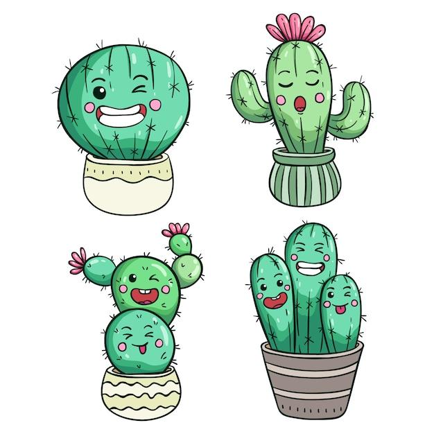 Espressione di cactus carino o faccia di kawaii Vettore Premium