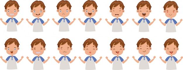 Espressione facciale dell'insieme delle emozioni facciali del ragazzo. Vettore Premium