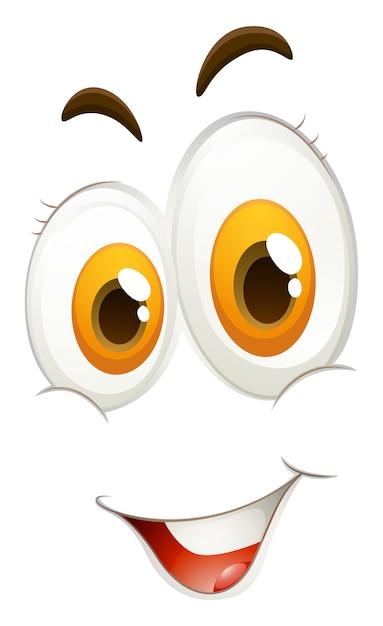 Espressione facciale felice su bianco Vettore gratuito