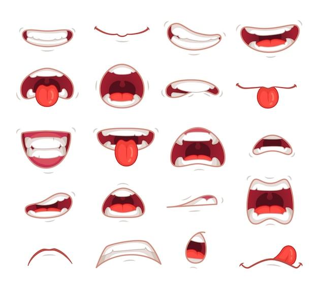 Espressione facciale sorpreso bocca Vettore Premium