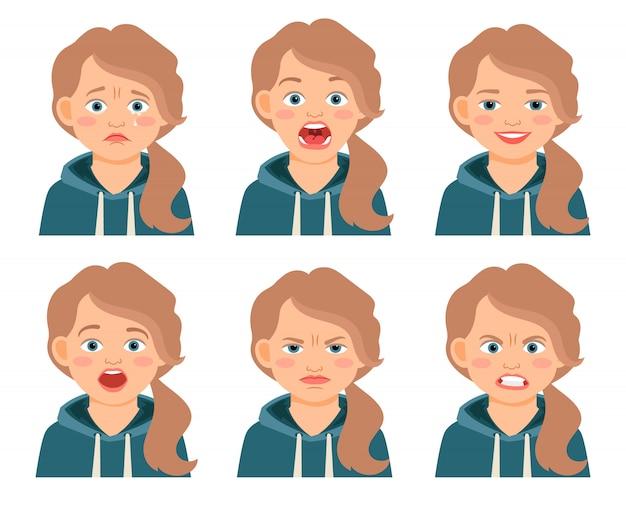 Espressioni del fronte della ragazza del bambino isolate. emozioni accigliate e spaventate, spaventate e arrabbiate. illustrazione vettoriale Vettore Premium