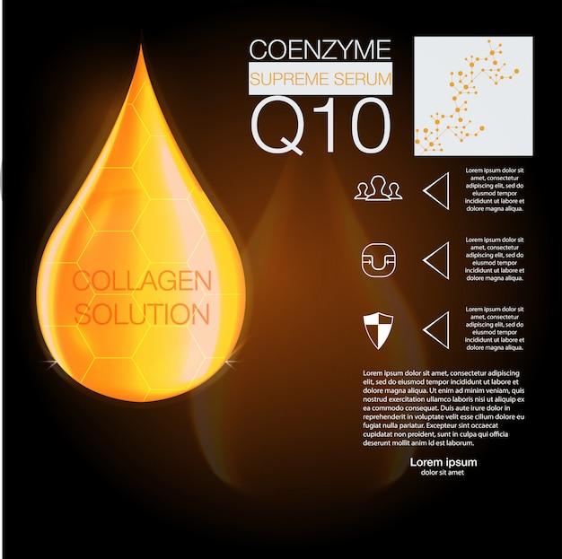 Essenza di goccia di olio di collagene supremo con elica di dna. cosmetici. Vettore Premium