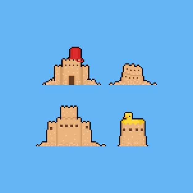 Estate del set.8bit del fumetto del castello della sabbia di arte del pixel. Vettore Premium