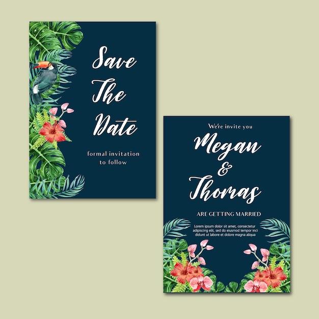 Estate dell'invito della carta tropicale con il fogliame delle piante esotica, acquerello creativo Vettore gratuito