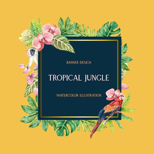 Estate di confine cornice tropicale con fogliame di piante esotiche, acquerello creativo Vettore gratuito