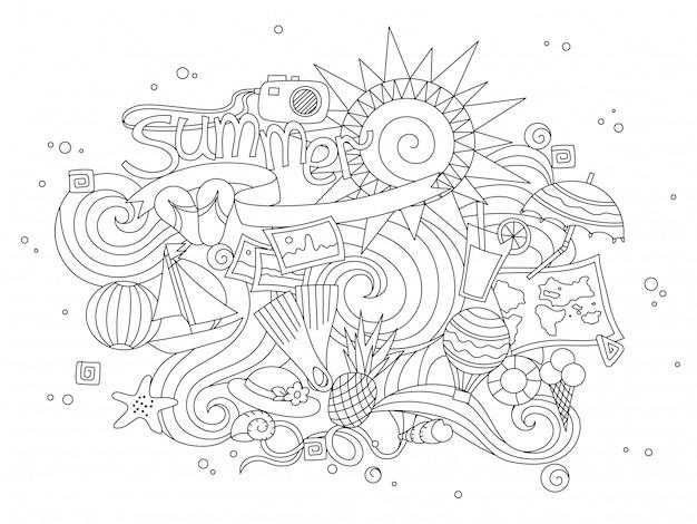Estate disegnata a mano doodles elementi. Vettore Premium