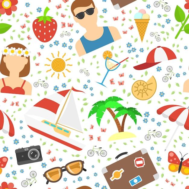 Estate e vacanze di sfondo Vettore gratuito