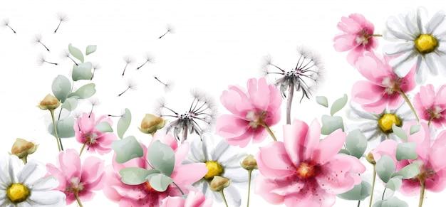 Estate fiori colorati in acquerello Vettore Premium