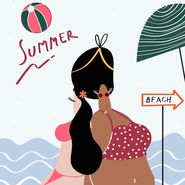 Estate in spiaggia Vettore gratuito