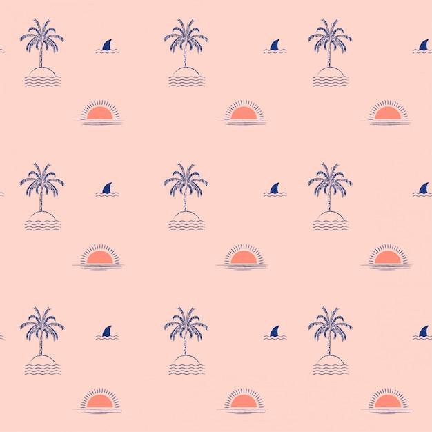 Estate isola tropicale alla moda della palma, onda, sole, spiaggia, modello senza cuciture dello squalo dell'aletta Vettore Premium