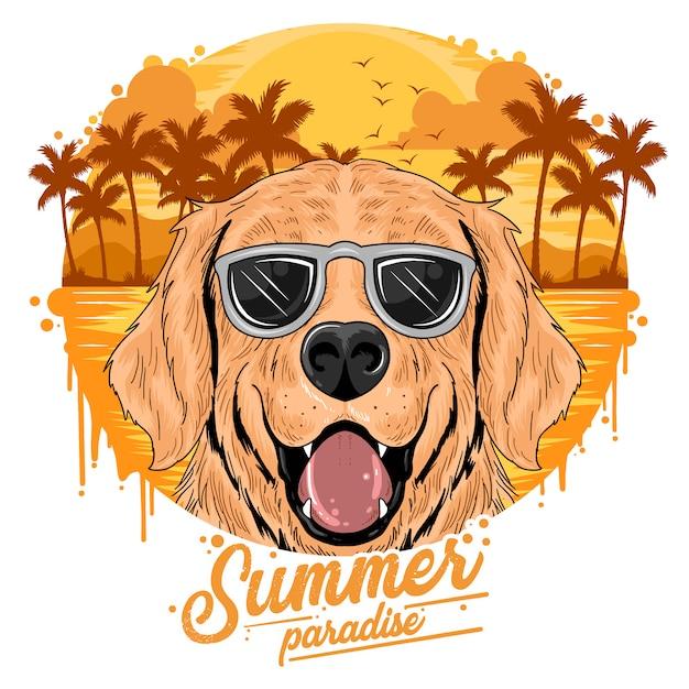Estate spiaggia e albero di cocco con cucciolo cagno sveglio Vettore Premium
