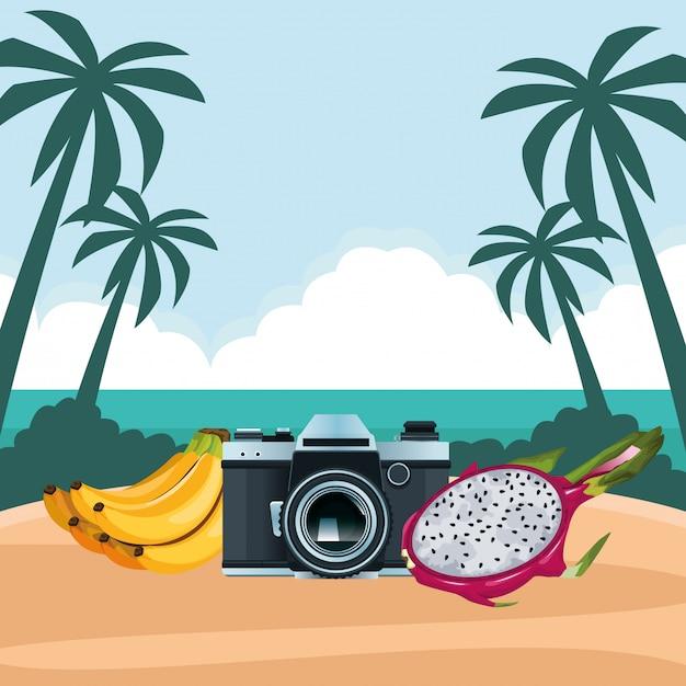Estate spiaggia e vacanze cartoon Vettore gratuito